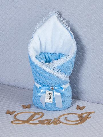 Зимний вязаный конверт на выписку Змейка (голубой)