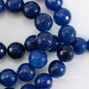 Бусина Агат (тониров), шарик с огранкой, цвет - темно-синий, 10 мм, нить