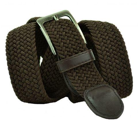 Ремень текстильный резинка мужской брючный коричневый большого размера 35 мм 35Rezinka-B-003