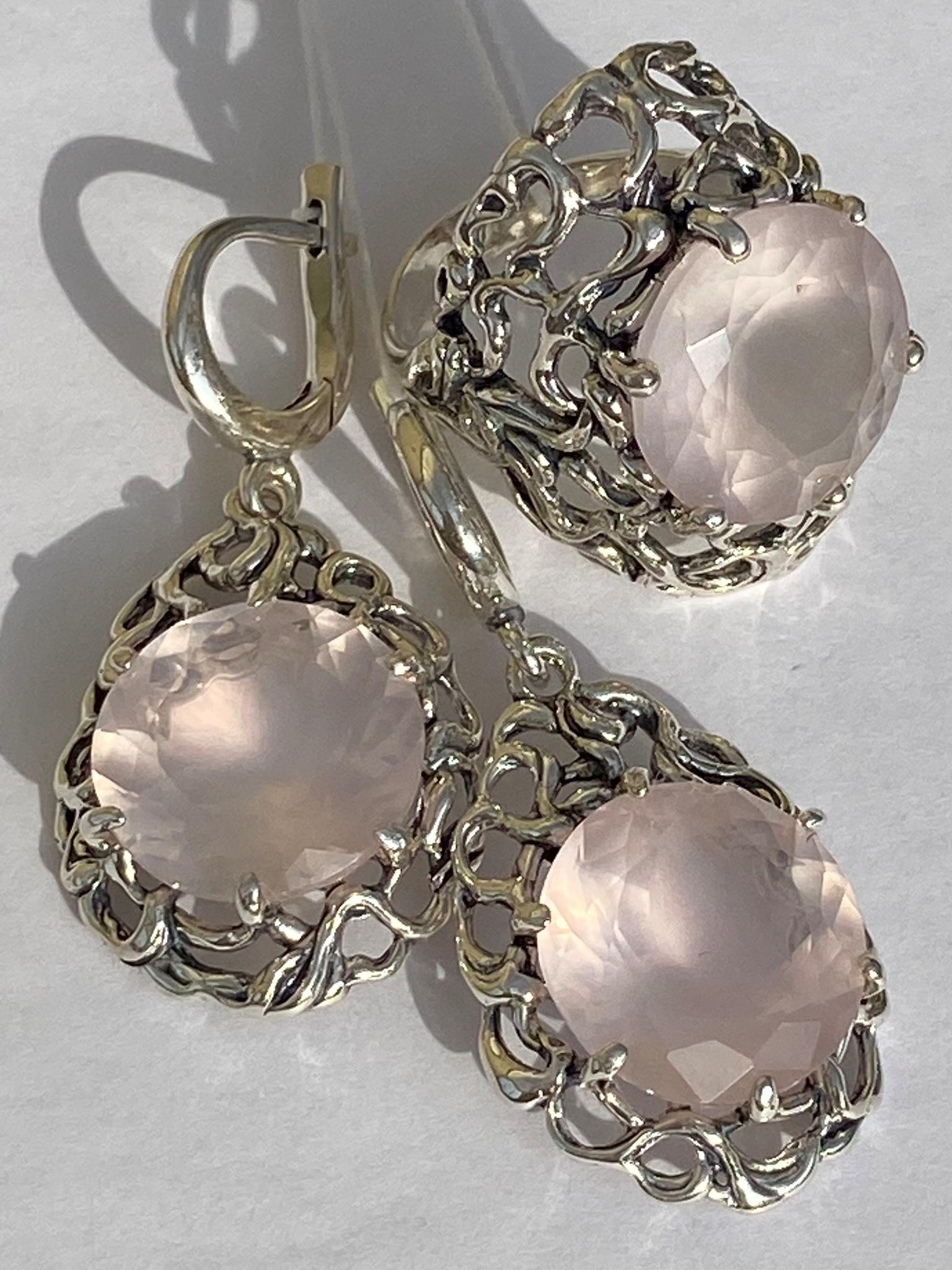 3175-роз.кварц(кольцо + серьги из серебра)
