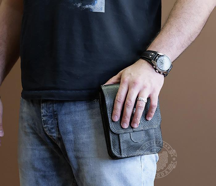 BAG379-1 Мужская сумка на пояс из натуральной кожи, ручная работа фото 08