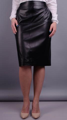 Марго. Кожаная юбка больших размеров. Черный.