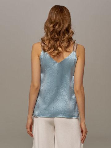 Женский топ голубого цвета из 100% шелка - фото 2