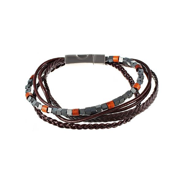 Браслет мужской серо-коричневый 5в1 из кожи и камня JV TOE-584-60180