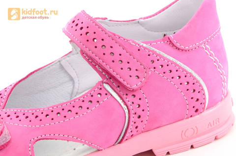 Босоножки для девочек из натуральной кожи с открытым носом на липучках Тотто, цвет розовый. Изображение 12 из 14.