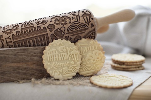 Italy - engraved rolling pin