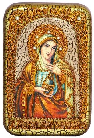 Инкрустированная Икона Святая Равноапостольная Мария Магдалина 15х10см на натуральном дереве, в подарочной коробке