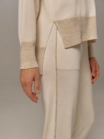 Женский джемпер белого цвета из шелка и кашемира - фото 4