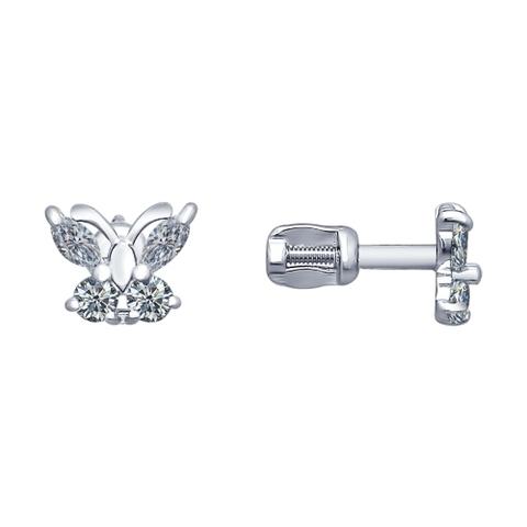 Серьги-пусеты бабочки из серебра от  SOKOLOV