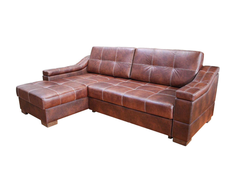 Угловой диван Макс П5 1я2д, натуральная кожа + кожзам, контрастная строчка