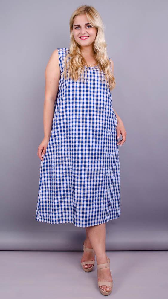Море. Практична сукня великих розмірів. Синя клітинка.