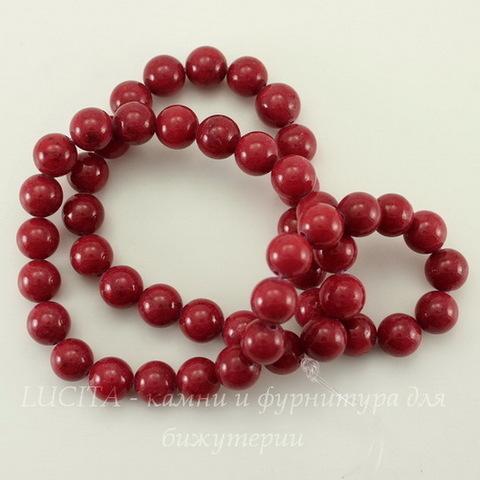 Бусина Жадеит (тониров), шарик, цвет - малиново-красный, 8 мм, нить