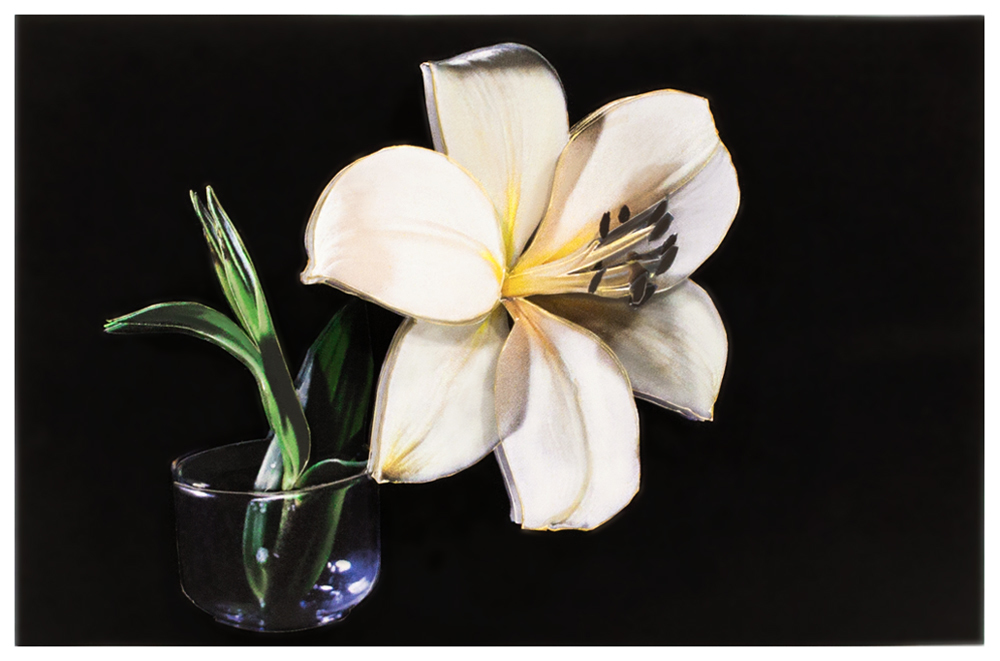 Папертоль Белая лилия — готовая работа, вид спереди.