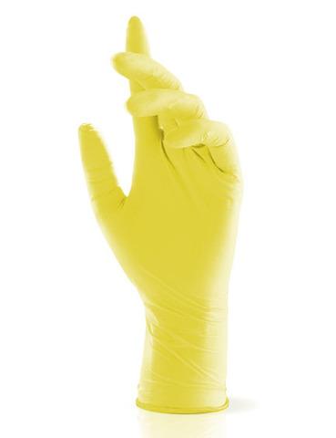 Перчатки косметические нитриловые Жёлтые р. S (100 штук - 50 пар)