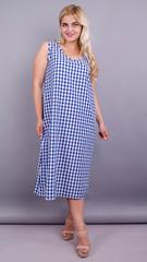 Море. Практичное платье больших размеров. Синяя клетка.