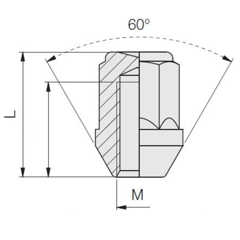 Гайка колёсная М10х1.25 длина=26мм ключ=17мм закрытая конус хром