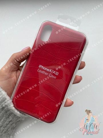 Чехол iPhone X/XS Leather case full /red/