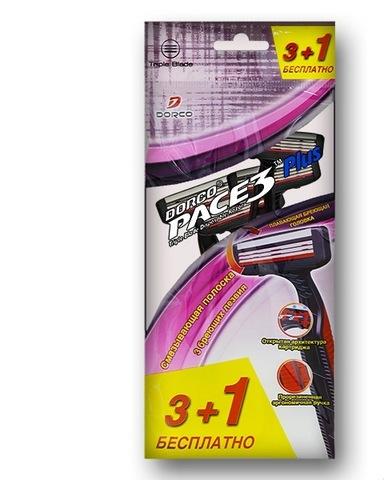 Dorco Pace 3 Одноразовые станки для бритья с 4 лезвиями 4шт. (3+1 в подарок)