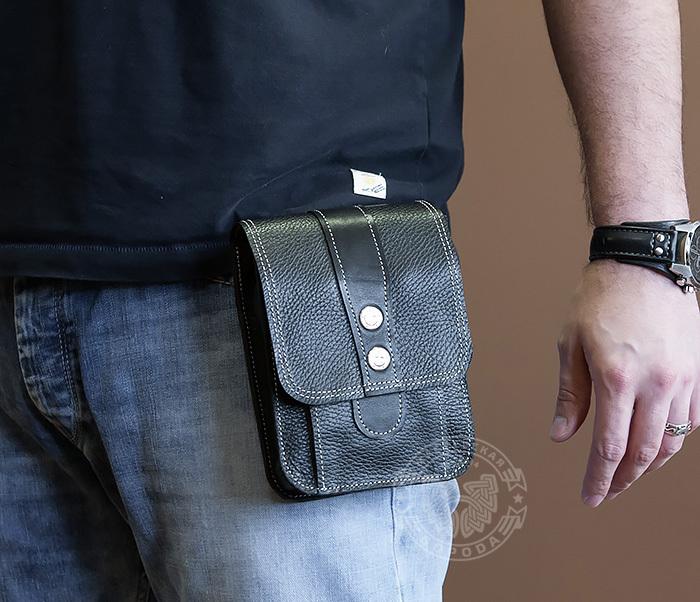 BAG379-1 Мужская сумка на пояс из натуральной кожи, ручная работа фото 09