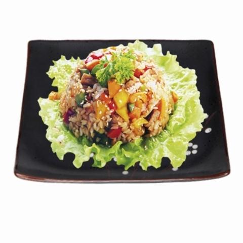 Рис с лососем и окунем (устричный соус)