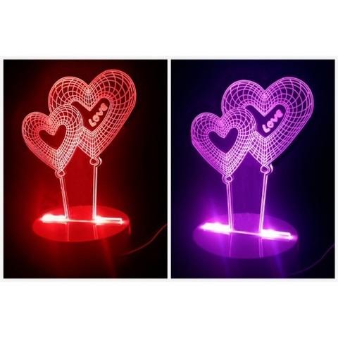 Светильник 3D Сердечки