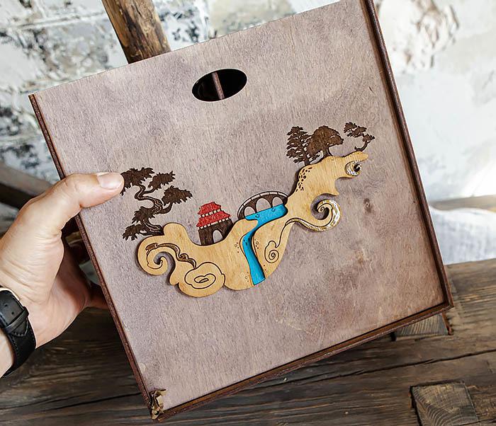 BOX233-3 Большая коробка «Синано» с художественной росписью (25*25*12 см) фото 10