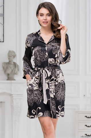 Халат рубашка  на пуговицах  MIA-AMORE Da Vinci Да Винчи 8447 черный