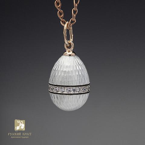 Кулон из серебра с белой эмалью