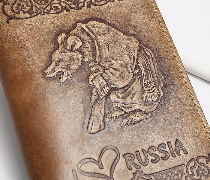 BY14-32-05 Обложка на паспорт с тиснением «I Love Russia» фото 02
