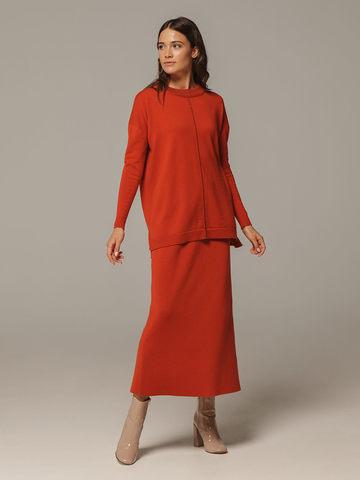 Женский оранжевый джемпер свободного кроя из шерсти и кашемира - фото 4