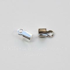 Концевик обжимной для шнура 2 мм, 6х3 мм (цвет - платина), 20 штук