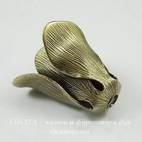 Винтажный декоративный элемент - шапочка с двойными лепестками 17х14 мм (оксид латуни) ()
