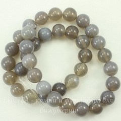 Бусина Агат, шарик, цвет - дымчатый серый, 10 мм, нить