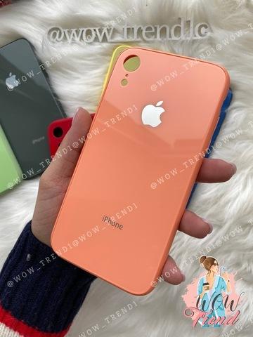 Чехол iPhone XR Glass Pastel color Logo /peach/