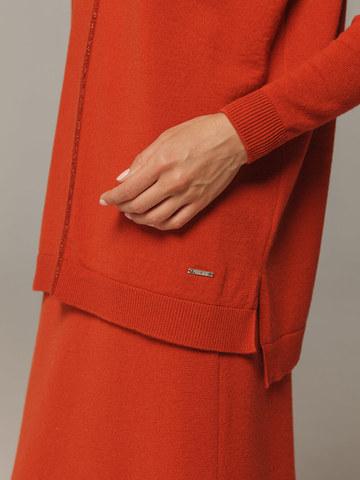 Женский оранжевый джемпер свободного кроя из шерсти и кашемира - фото 2