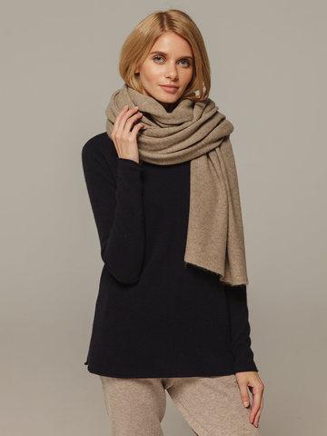 Женский шарф песочного цвета из 100% кашемира - фото 2
