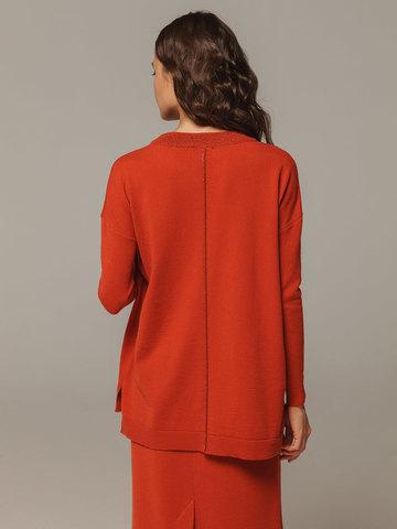 Женский оранжевый джемпер свободного кроя из шерсти и кашемира - фото 3
