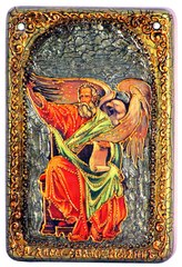 Инкрустированная Икона Святой апостол и евангелист Иоанн Богослов 15х10см на натуральном дереве, в подарочной коробке