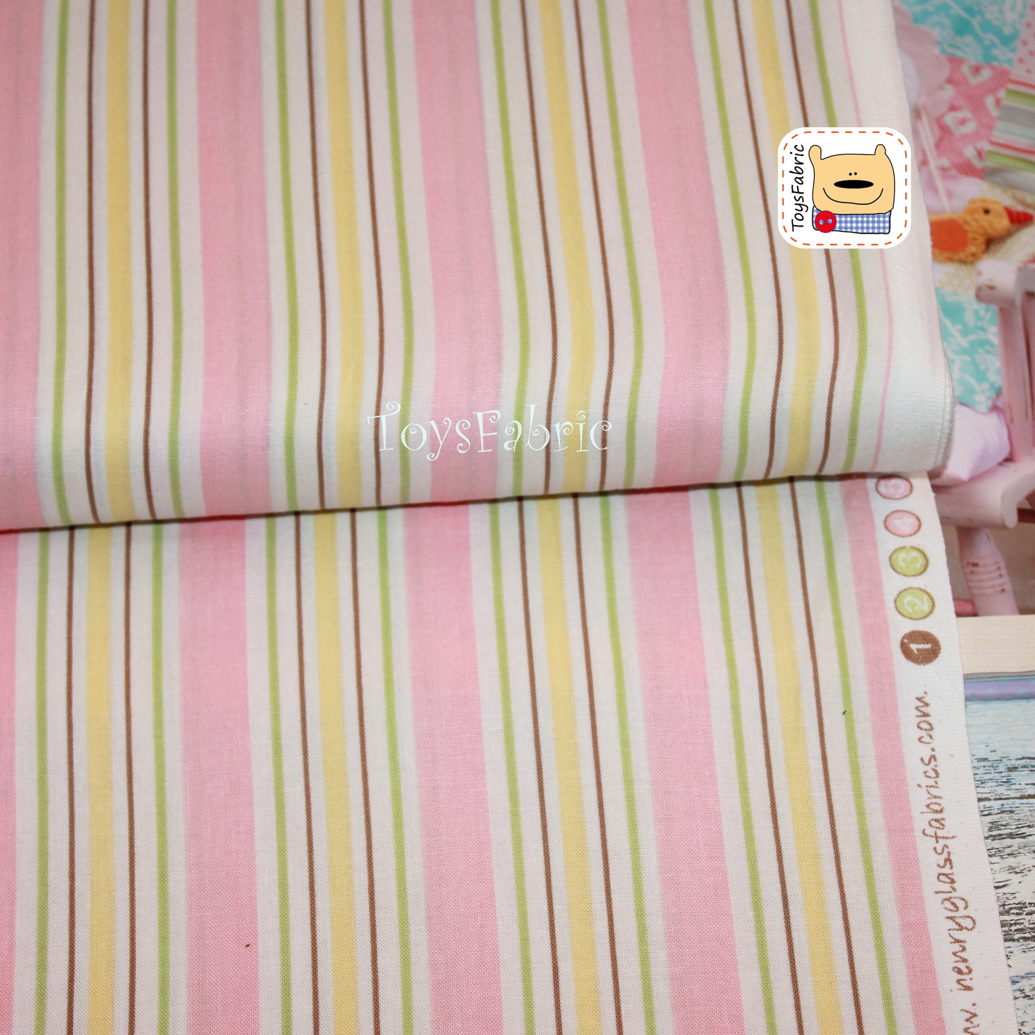 Ткань для пэчворка 20626 (розовые полоски) 45х55см