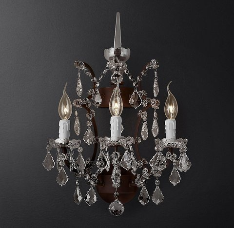 19th C. Rococo Iron & Clear Crystal Sconce