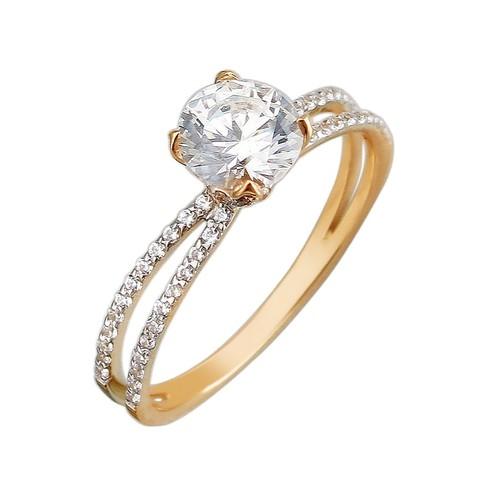 Помолвочное кольцо со Сваровски из золота 585 пробы в стиле Tiffany