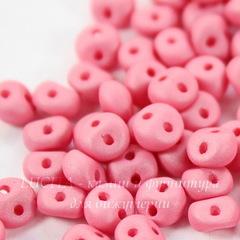 Бусина Es-O mini с 2 отверстиями, 4 мм, розовая матовая