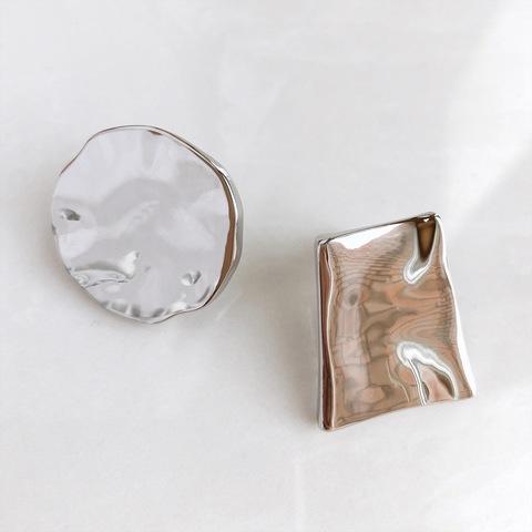 Серьги Рельеф, серебряный цвет
