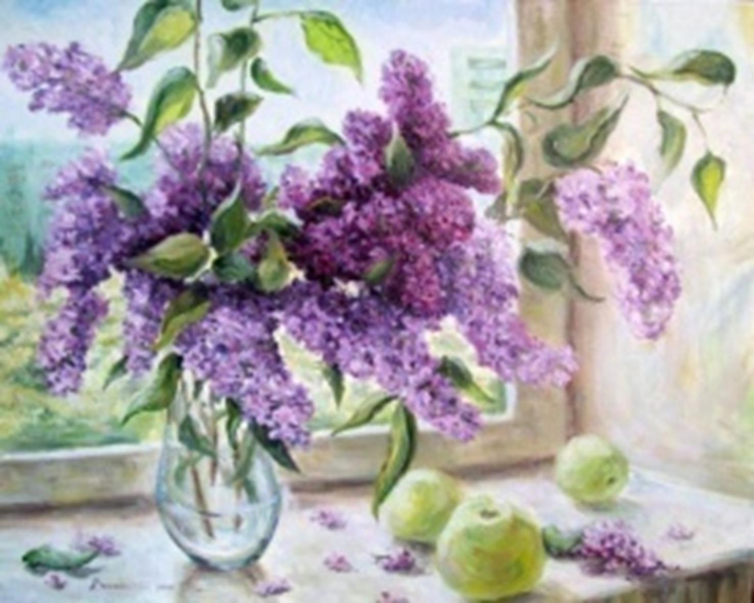 Картина раскраска по номерам 30x40 Сирень в вазе на окне и ...