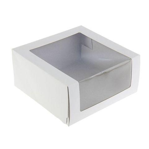 Коробка для тортиков, пирожных  (белая) 180*180*100 мм