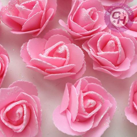 Роза из фоамирана с блестками 6 см, 1 шт.