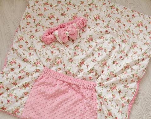 Зимнее одеяло - конверт - трансформер на выписку Утренняя роза