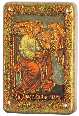 Инкрустированная Икона Святой апостол и евангелист Марк 15х10см на натуральном дереве, в подарочной коробке