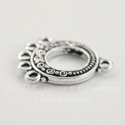 "Коннектор TierraCast ""Спирали"" (1-5) 22х18 мм (цвет-античное серебро)"