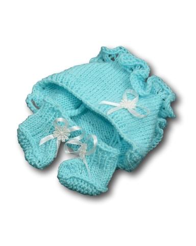 Капор - Бирюзовый. Одежда для кукол, пупсов и мягких игрушек.